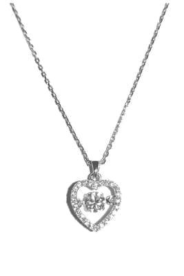 collier en argent 925 en forme de coeur